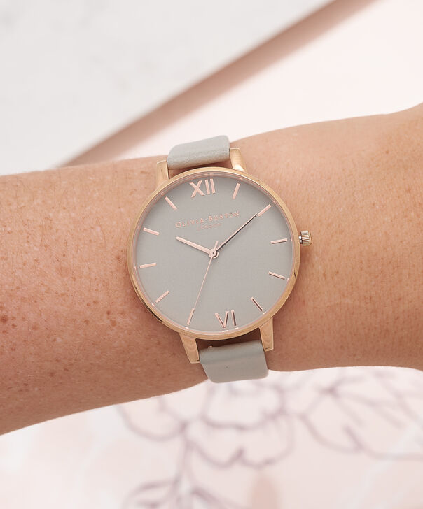 OLIVIA BURTON LONDON  Big Dial Grey And Rose Gold Watch OB15BD61 – Big Dial Round in Grey - Other view