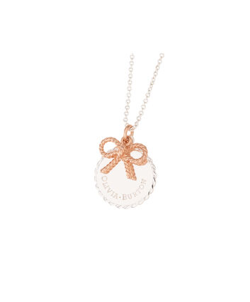 OLIVIA BURTON LONDON  Vintage Bow Coin Necklace Silver and Rose Gold OBJ16VBN05 – Vintage Bow Disc Necklace - Front view