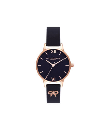 OLIVIA BURTON LONDON Vintage BowOB16VB07 – Midi Dial in Black and Rose Gold - Front view