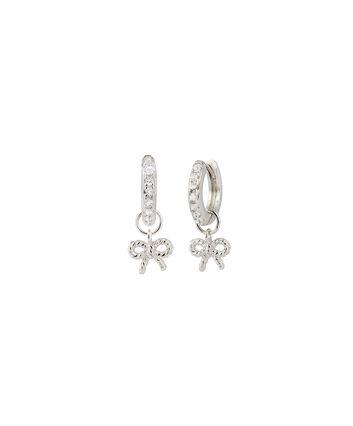 OLIVIA BURTON LONDON  Vintage Bow Huggie Hoop Silver & White Topaz Earrings OBJ16VBE18 – Vintage Bow Huggie Hoop - Front view