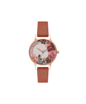 OLIVIA BURTON LONDON  English Garden Tan & Rose Gold Watch OB16ER05 – Midi Dial Round in White and Tan - Front view