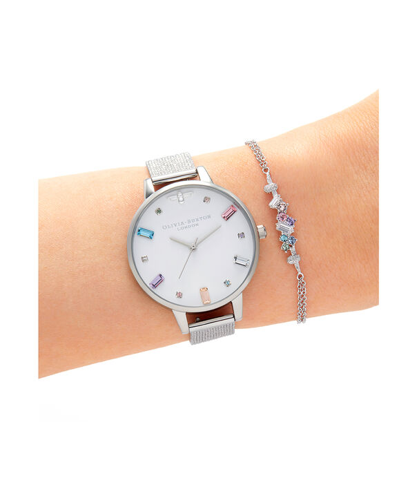 OLIVIA BURTON LONDON Rainbow Bee Demi Silver Boucle MeshOB16RB10 – Demi Dial In Silver And Silver - Other view
