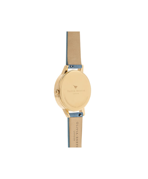 OLIVIA BURTON LONDON  Wonderland Chalk Blue Suede, Nude Dial & Gold OB16WD82 – Midi Dial Round in Gold and Chalk Blue - Back view
