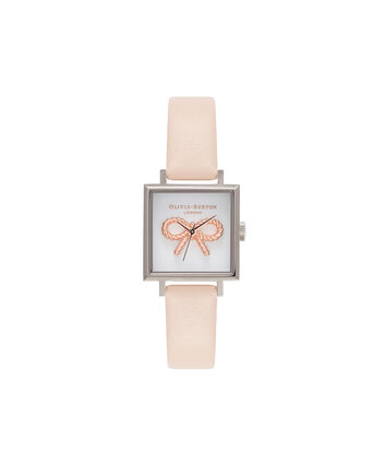 OLIVIA BURTON LONDON Vintage BowOB16VB02 – Midi Dial Square in White and Peach - Front view