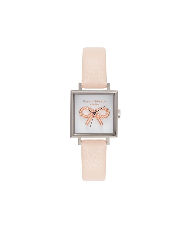 OLIVIA BURTON LONDON  3D Midi Square Dial Nude Peach, Rose Gold & Silver Watch OB16VB02 – Midi Dial Square in White and Peach - Front view