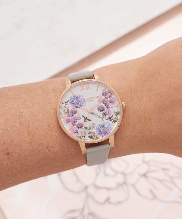 OLIVIA BURTON LONDON  Parlour Bee Blooms, Grey & Rose Gold Watch OB16PL30 – Big Dial Round in Parlour and Grey - Other view