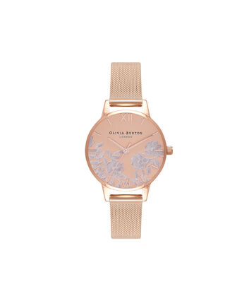 OLIVIA BURTON LONDON Lace DetailOB16MV77 – Midi Dial in Rose Gold - Front view
