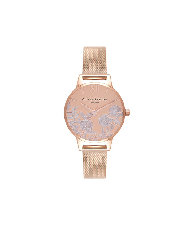 OLIVIA BURTON LONDON  Lace Detail Rose Gold Mesh Watch OB16MV77 – Midi Dial in Rose Gold - Front view