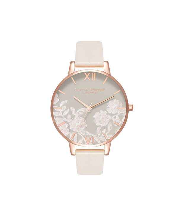 OLIVIA BURTON LONDON  Lace Detail Nude & Rose Gold Watch OB16MV80 – Big Dial Round in Rose Gold and Nude - Front view
