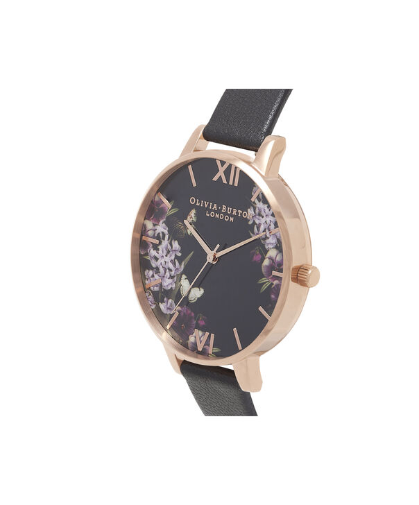 OLIVIA BURTON LONDON Blooms & Butterflies Black And Rose GoldOB16EX105 – Big Dial In Black And Rose Gold - Side view
