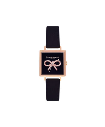 OLIVIA BURTON LONDON Vintage Bow Black & Rose Gold Watch OB16VB03 – Midi Dial Square in Black - Front view