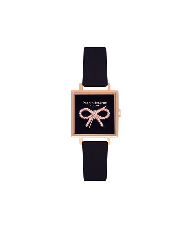 Ladies Vintage Bow  Black & Rose Gold Watch | Olivia Burton London