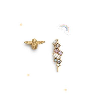 OLIVIA BURTON LONDON Rainbow Bee Crawler & Stud GoldOBJAME130 – Earrings in Gold - Front view