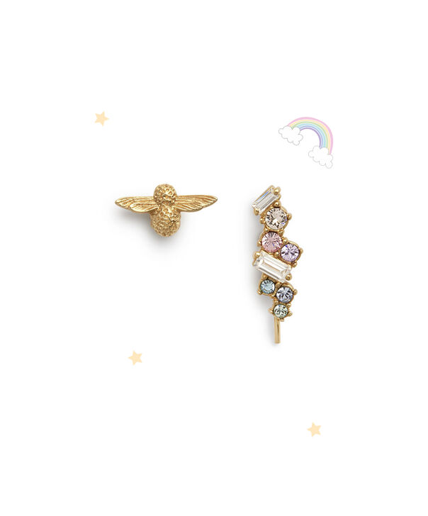 OLIVIA BURTON LONDON Rainbow Bee Crawler & Stud GoldOBJAME130 – Earrings in Gold - Front view