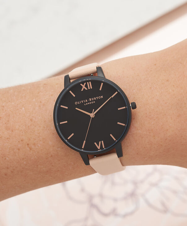 OLIVIA BURTON LONDON  After Dark Nude Peach & Ip Black Watch OB16AD25 – Big Dial Round in Black and Peach - Other view