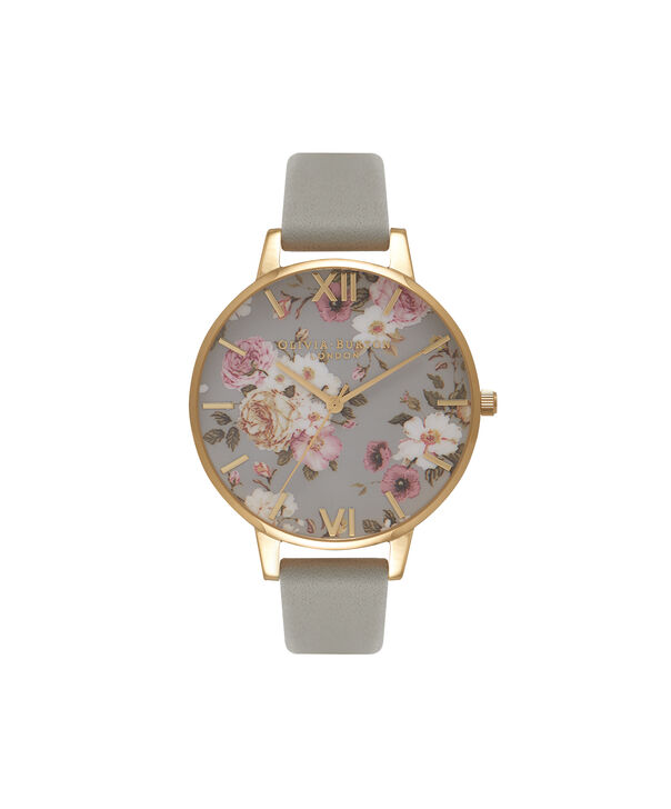OLIVIA BURTON LONDON  Flower Show Big Dial Grey & Gold Watch OB16FS81 – Big Dial in Grey Floral and Grey - Front view