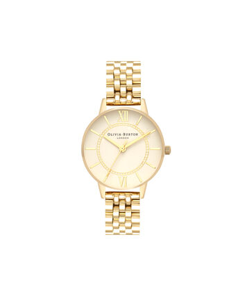 OLIVIA BURTON LONDON  Wonderland Nude Dial & Gold Bracelet OB16WD69 – Midi Dial Round in Gold - Front view