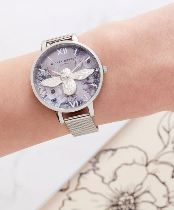 OLIVIA BURTON LONDON  Watercolour Florals Silver Mesh OB16PP42 – Big Dial Round in Silver - Other view
