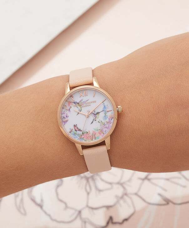 OLIVIA BURTON LONDON  Painterly Prints Nude Peach & Rose Gold Watch OB16PP20 – Midi Dial in White Floral and Nude Peach - Other view