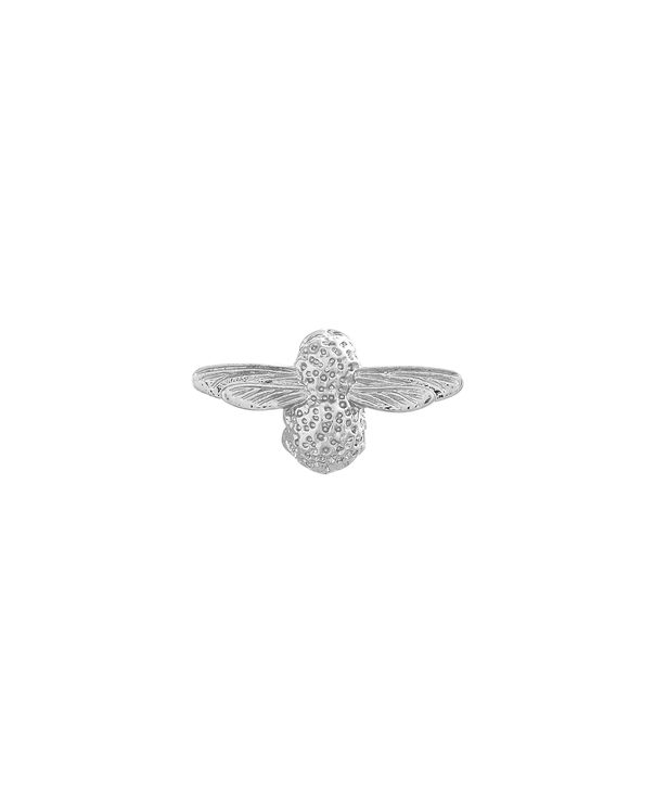 OLIVIA BURTON LONDON  Silver Bee Pin  OBPIN03 – Bee Pin in Silver - Front view