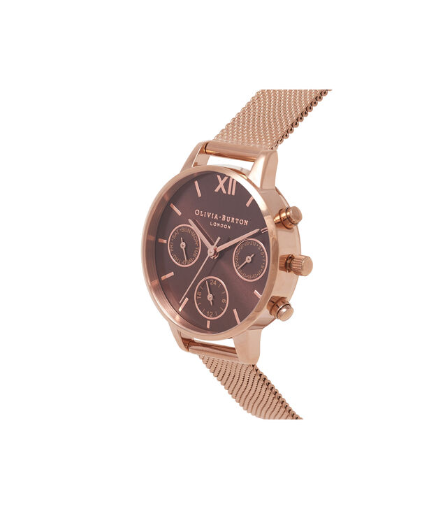 OLIVIA BURTON LONDON  Chrono Detail Rose Gold Watch OB16CGM65 – Midi Dial in Chocolate and Rose Gold - Side view