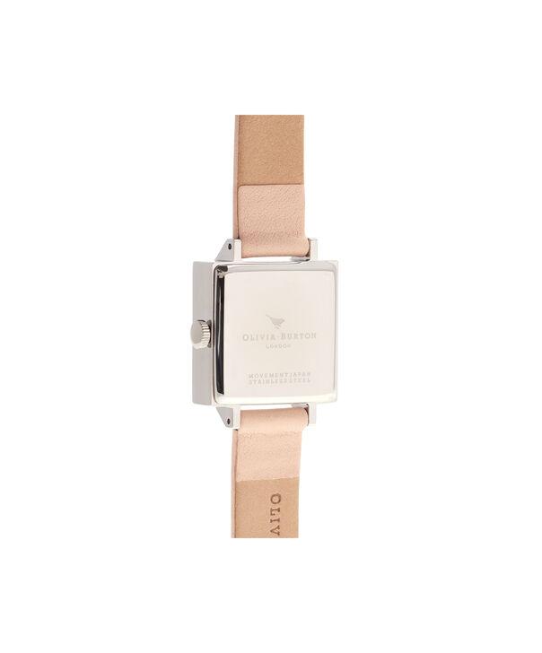 OLIVIA BURTON LONDON  3D Midi Square Dial Nude Peach, Rose Gold & Silver Watch OB16VB02 – Midi Dial Square in White and Peach - Back view