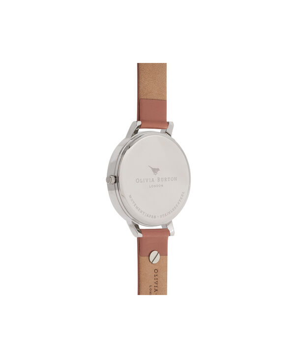 OLIVIA BURTON LONDON  3D Bee Embellished Strap Rose & Silver Watch OB16ES01 – Big Dial Round in White and Rose - Back view