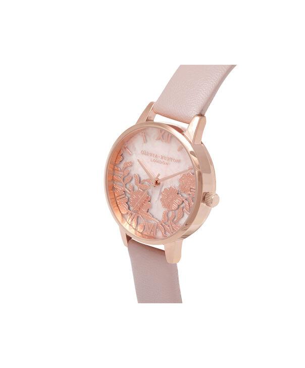 OLIVIA BURTON LONDON  Semi Precious Rose Quartz Vegan Rose Sand & Rose Gold OB16MV84 – Midi Dial Round in Rose Gold and Pink - Side view