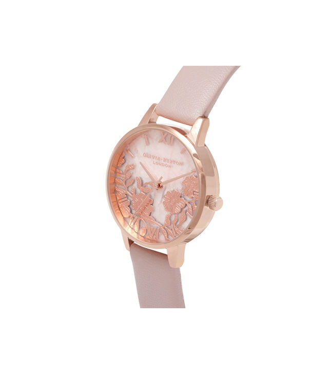 OLIVIA BURTON LONDON Semi Precious Rose Quartz Vegan Rose Sand & Rose GoldOB16MV84 – Midi Dial Round in Rose Gold and Pink - Side view