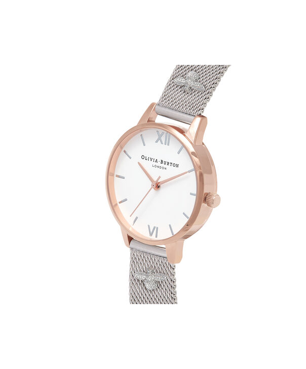 OLIVIA BURTON LONDON 3D Bee Embellished Strap Rose Gold & Silver 3D Bee Mesh Watch OB16ES04 – Midi Dial Round in White and Rose Gold - Side view