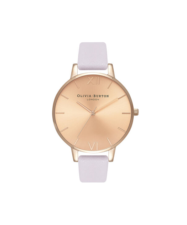 OLIVIA BURTON LONDON  Sunray Dial Blossom & Rose Gold OB16BD110 – Big Dial Round in Rose Gold and Pink - Front view