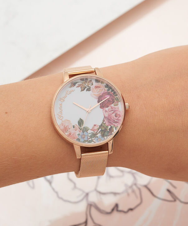 OLIVIA BURTON LONDON  English Garden Rose Gold Mesh Watch OB16ER10 – Big Dial in White and Rose Gold - Other view