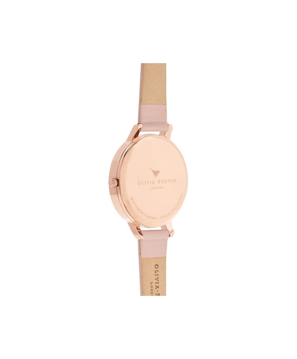 OLIVIA BURTON LONDON  Signature Floral Dusty Pink & Rose Gold Watch OB15WG10 – Big Dial Round in White and Pink - Back view