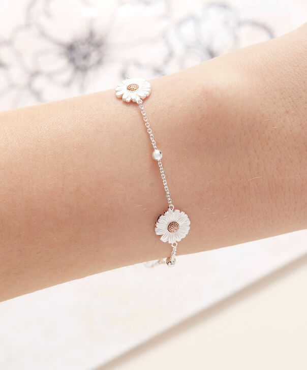 OLIVIA BURTON LONDON  Daisy & Ball Chain Bracelet Silver & Rose Gold OBJ16DAB02 – 3D Daisy Chain Bracelet - Other view