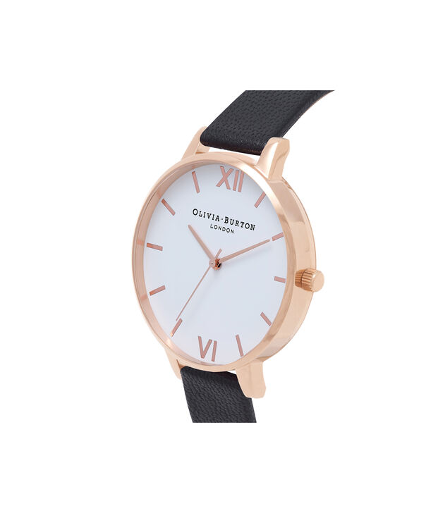 OLIVIA BURTON LONDON  White Dial Black And Rose Gold Watch OB16BDW09 – Big Dial Round in White and Black - Side view