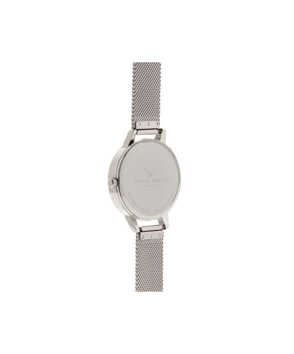OLIVIA BURTON LONDON  Lace Detail Silver Mesh Watch OB16MV54 – Midi Dial Round in White and Silver - Back view