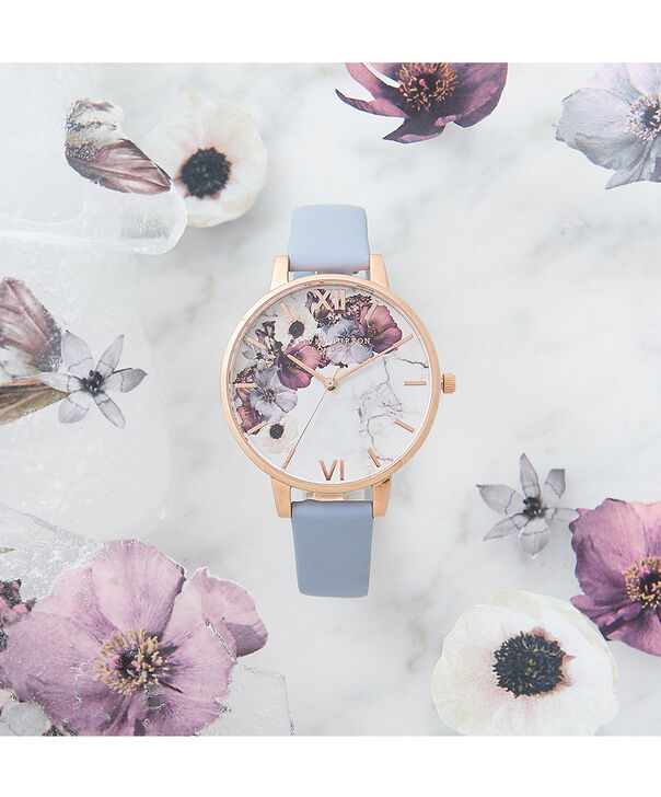 OLIVIA BURTON LONDON  Marble Floral Chalk Blue & Rose Gold OB16MF10 – Big Dial Round in Rose Gold and Blue - Front view