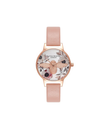 OLIVIA BURTON LONDON  Botanical 3D Bee Dusty Pink, Rose Gold & Silver Watch OB16AM101 – Midi Dial Round in White and Pink - Front view