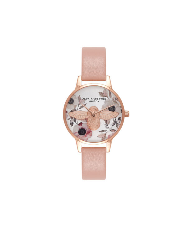 OLIVIA BURTON LONDON Botanical 3D Bee Dusty Pink, Rose Gold WatchOB16AM101 – Midi Dial Round in White and Pink - Front view