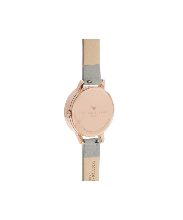 OLIVIA BURTON LONDON Watercolour Florals Grey & Rose GoldOB16PP43 – Midi Dial Round in Rose Gold - Back view