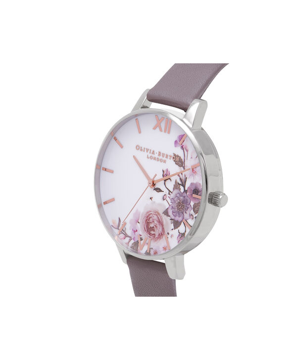 OLIVIA BURTON LONDON  Enchanted Garden London Grey & Silver Watch OB16WG38 – Big Dial Round in Floral and London Grey - Side view