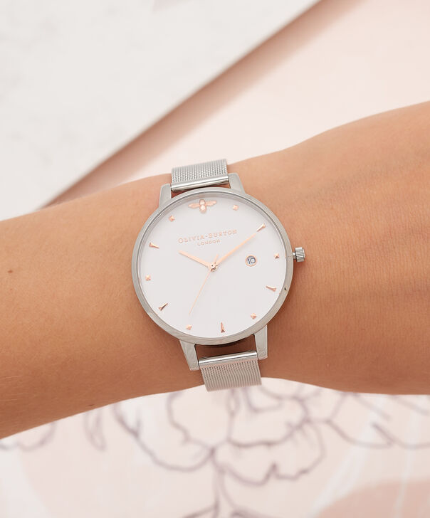 OLIVIA BURTON LONDON Rose Gold & Silver Mesh WatchOB16AM115 – Big Dial Round in White and Silver - Other view