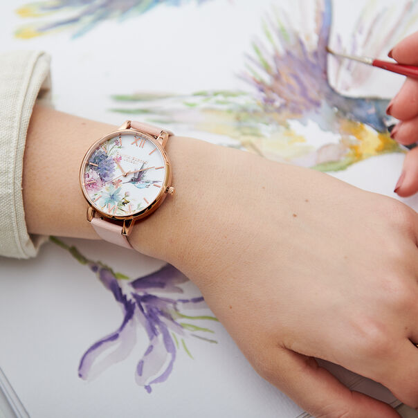 OLIVIA BURTON LONDON  Painterly Prints Hummingbird Nude Peach & Rose Gold Watch OB15PP12 – Big Dial Round in Floral and Peach - Other view