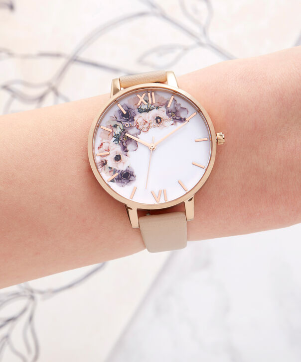 OLIVIA BURTON LONDON  Watercolour Florals Nude Peach & Rose Gold Watch OB16PP30 – Big Dial Round in Floral and Nude Peach - Other view