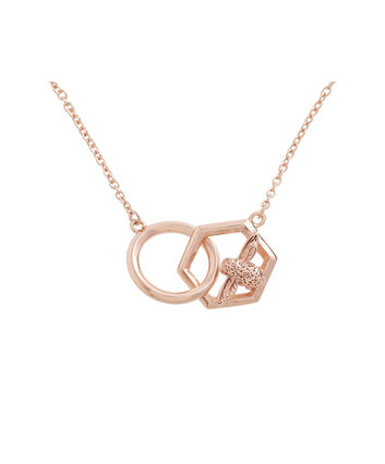 OLIVIA BURTON LONDON  Honeycomb Bee Necklace Rose Gold OBJ16AMN21 – Honeycomb Bee Necklace - Front view