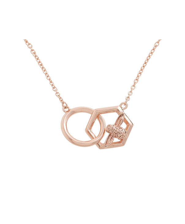 Ladies Honeycomb Bee Necklace Rose Gold | Olivia Burton London