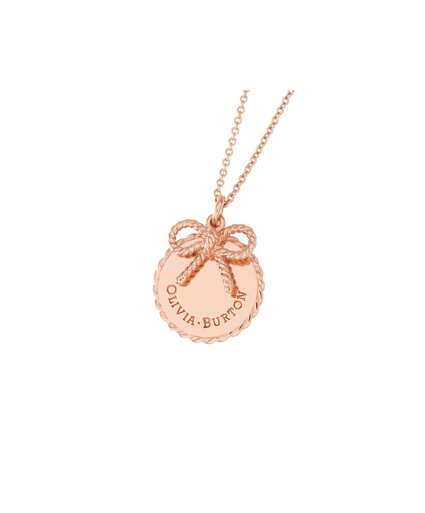OLIVIA BURTON LONDON  Vintage Bow Coin Necklace Rose Gold OBJ16VBN02 – Vintage Bow Disc Necklace - Front view
