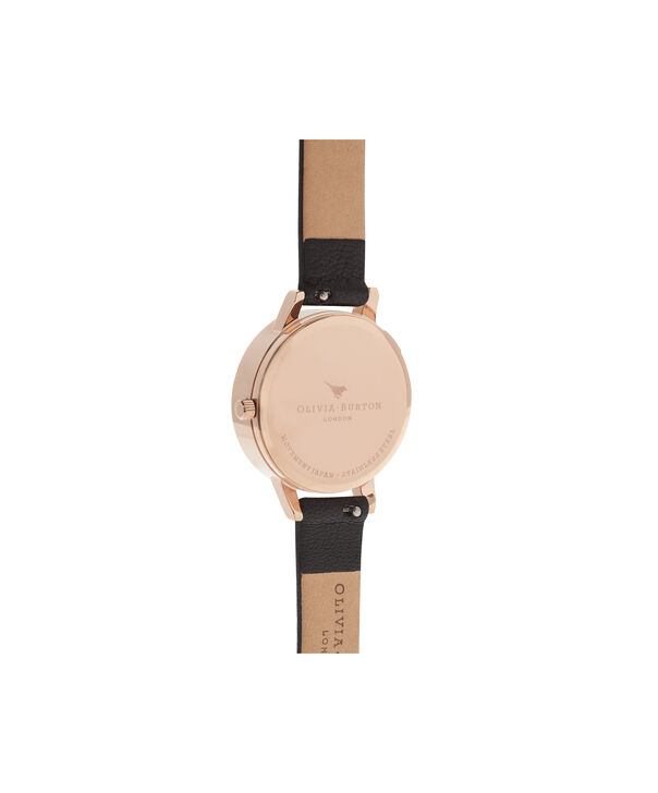 OLIVIA BURTON LONDON Lace Detail Black & Rose Gold Watch OB16MV75 – Midi Dial Round in Black - Back view