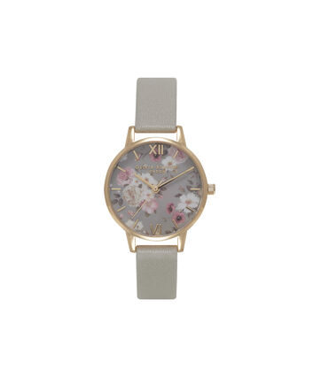 OLIVIA BURTON LONDON Signature FloralsOB15EG12B – Big Dial Round in Grey and Gold - Front view