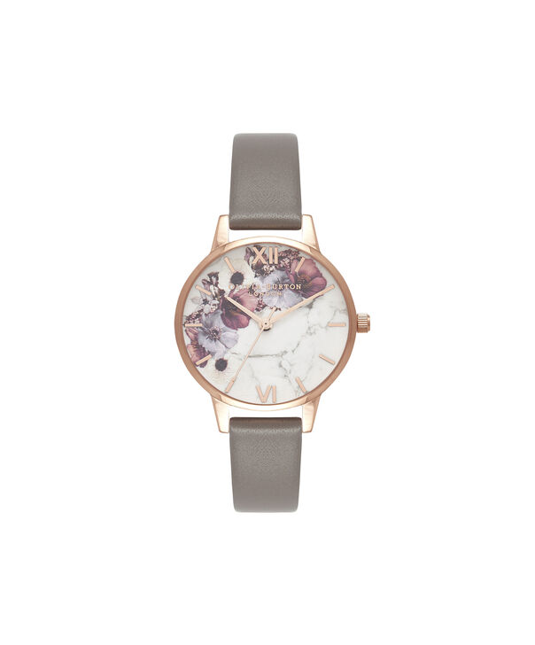 OLIVIA BURTON LONDON  Marble Floral London Grey & Rose Gold OB16MF08 – Midi Dial Round in Rose Gold and Grey - Front view